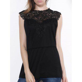 Women's Sleeveless Lace Splicing Pleated Plus Size Blouse