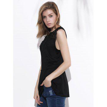 Women's Sleeveless Lace Splicing Pleated Plus Size Blouse - BLACK XL