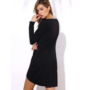 Stylish V-Neck Long Sleeve Asymmetrical Women's T-Shirt - BLACK ONE SIZE(FIT SIZE XS TO M)