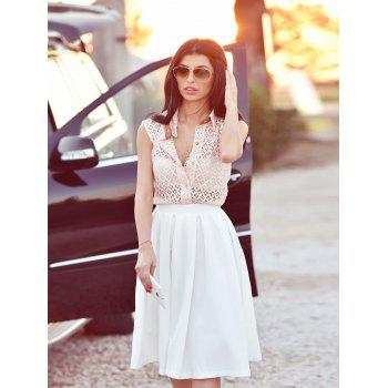 Stylish Women's Semi Sheer Megz Sleeveless Lace Shirt