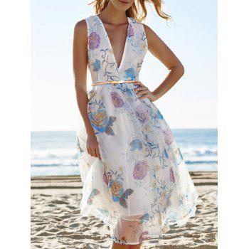 Sexy Sleeveless Plunging Neck See-Through Flower Pattern Women's Dress