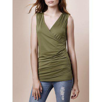 Sexy Plunging Neck Sleeveless Slimming Solid Color Ruched Women's Tank Top