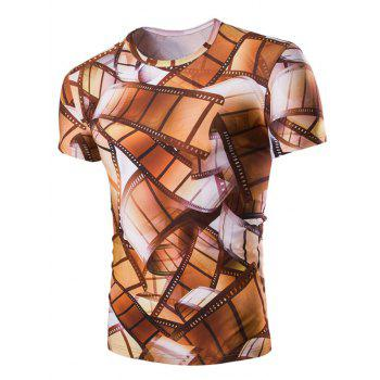 Men's 3D Vintage Style Roll Film Print Round Neck Short Sleeves T-Shirt