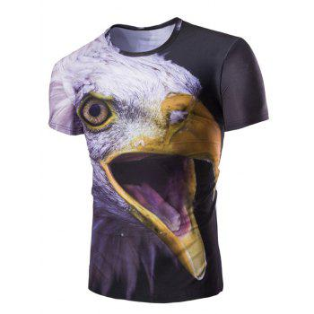 Men's 3D Night Owl Print Round Neck Short Sleeves T-Shirt