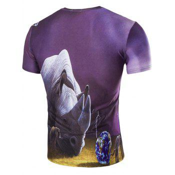 Men's Abstract 3D Rhinoceros Print Round Neck Short Sleeves T-Shirt - COLORMIX M