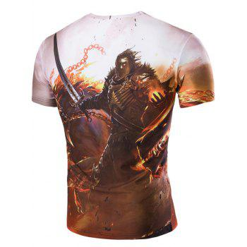 Men's 3D Hero and Fire Print Round Neck Short Sleeves T-Shirt - COLORMIX 2XL