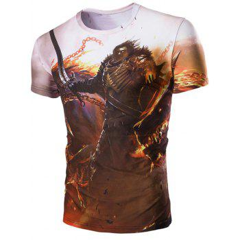 Men's 3D Hero and Fire Print Round Neck Short Sleeves T-Shirt