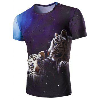 Men's 3D Tiger and Sky Print Round Neck Short Sleeves T-Shirt