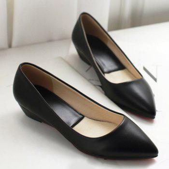 Slip On Flat Point Toe Shoes - BLACK BLACK