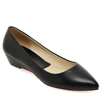 Slip On Flat Point Toe Shoes - BLACK 36