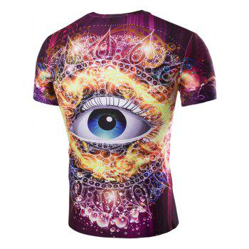 Men's 3D Abstract Eye Print Round Neck Short Sleeves T-Shirt - COLORMIX 2XL