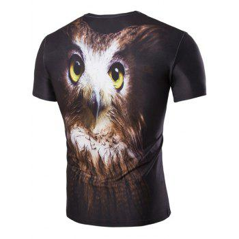 Men's Hot Sale 3D Night Owl Print Round Neck Short Sleeves T-Shirt - COLORMIX 2XL