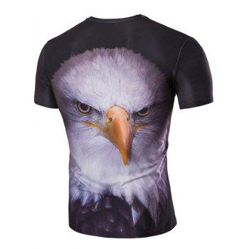 Men's Stereoscopic Night Owl Print Round Neck Short Sleeves T-Shirt - COLORMIX 2XL