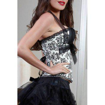 Fashionable Women's Mesh Floral Print Corset - WHITE/BLACK S