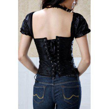 Stylish Women's Square Neck Short Sleeves Corset - BLACK L