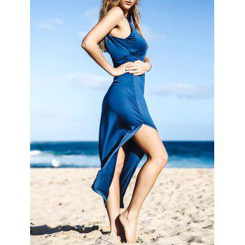 Spaghetti Strap Solid Color High Slit Sleeveless Dress For Women