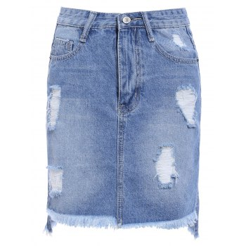 Chic Broken Hole Fringed Pocket Design Asymmetrical Women's Skirt