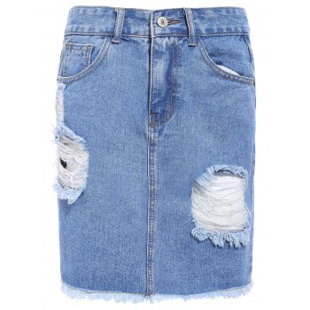 Fashionable Broken Hole Fringed Pocket Design Women's Denim Skirt