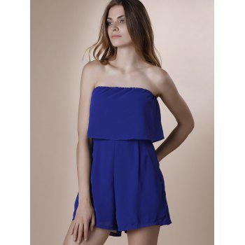 Trendy Strapless Pure Color Romper For Women
