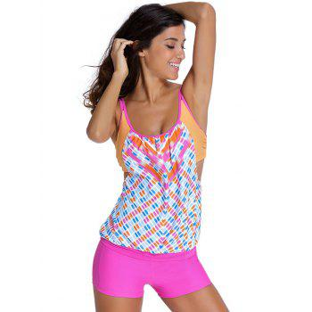 Trendy Print Top + Boxers Two Piece Swimwear For Women