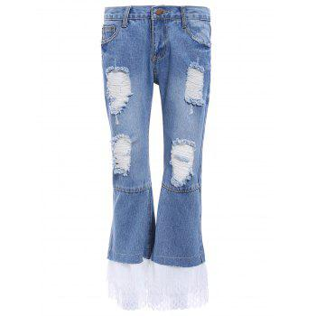 Ripped Lace Spliced Jeans