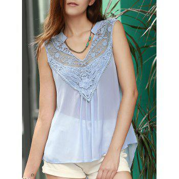 Trendy V Neck Lace Spliced Chiffon Tank Top For Women