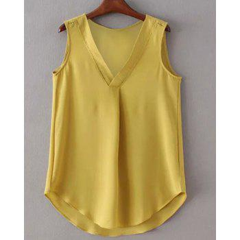 Elegant V-Neck Hollow Out Asymmetric Women's Tank Top