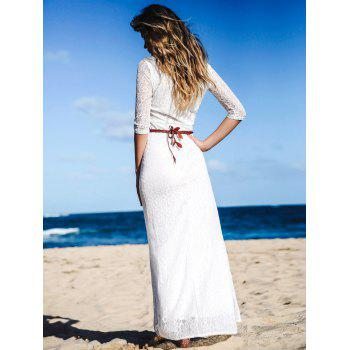 Solid Color 3/4 Sleeve Hollow Out Maxi Dress For Women - WHITE XL