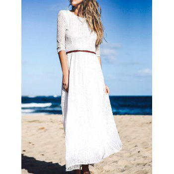 Solid Color 3/4 Sleeve Hollow Out Maxi Dress For Women