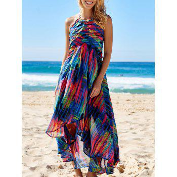 Stylish Bohemian Halter Sleeveless Asymmetrical Printed Women's Dress - COLORMIX S