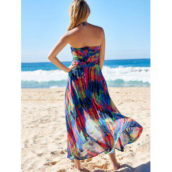 Stylish Bohemian Halter Sleeveless Asymmetrical Printed Women's Dress - S S