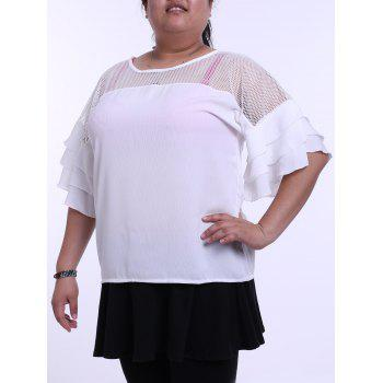 Plus Size Mesh Insert Ruffle T-Shirt - WHITE 4XL