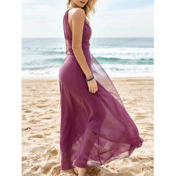 Charming Round Neck Pure Color Hollow Irregular Hem Sleeveless Women's Maxi Dress
