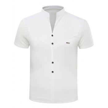 Simple Stand Collar Splicing Sequin Embellished Short Sleeve T-Shirt For Men