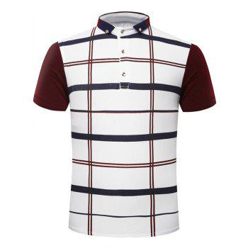 Fashion Turn-Down Collar Plaid Print Short Sleeve Men's Polo T-Shirt