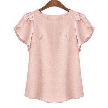 Plus Size Brief Round Neck Short Ruffled Sleeve Pure Color Women's Shirt - SHALLOW PINK SHALLOW PINK