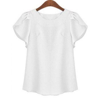Plus Size Brief Round Neck Short Ruffled Sleeve Pure Color Women's Shirt - WHITE WHITE