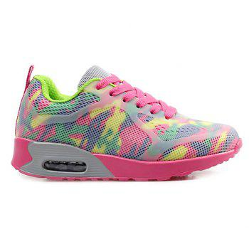 Stylish Print and Mesh Design Women's Sneakers - PINK / GREEN 40