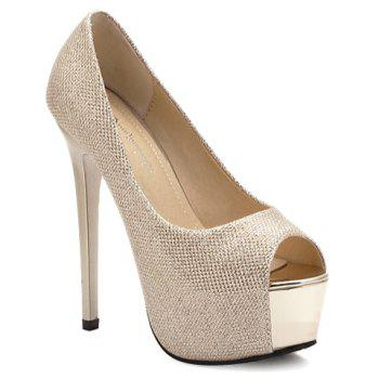 Trendy Solid Colour and Platform Design Women's Peep Toe Shoes