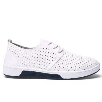 Stylish Hollow Out and Lace-Up Design Men's Casual Shoes - WHITE 44