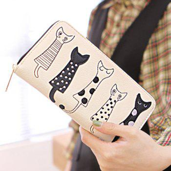 Cute Cat Pattern and Zip Design Women's Wallet - WHITE WHITE