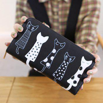 Cute Cat Pattern and Zip Design Women's Wallet