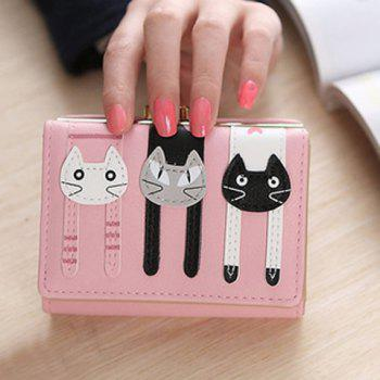 Cute Cat Pattern and PU Leather Design Women's Small Wallet - PINK PINK