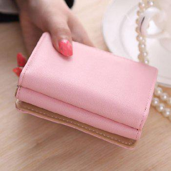 Cute Cat Pattern and PU Leather Design Women's Small Wallet -  PINK