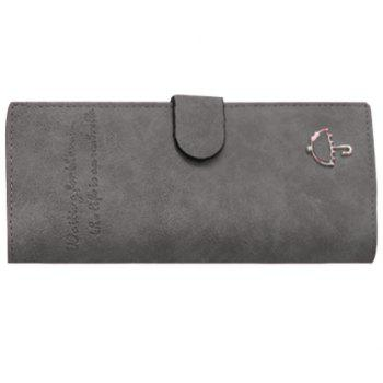Concise Letters and Solid Color Design Women's Wallet - GRAY GRAY
