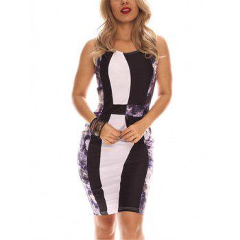 Alluring Scoop Neck Sleeveless Floral Print Slimming Women's Dress - WHITE AND BLACK M