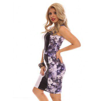Alluring Scoop Neck Sleeveless Floral Print Slimming Women's Dress - M M