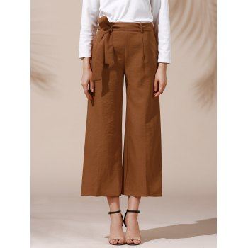 Trendy Mid Waist Solid Color Self Tie Belt Loose Ankle Length Women's Pants