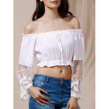Graceful Off-The-Shoulder Flare Sleeve White See-Through Women's Crop Top