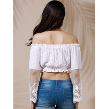 Graceful Off-The-Shoulder Flare Sleeve White See-Through Women's Crop Top - S S